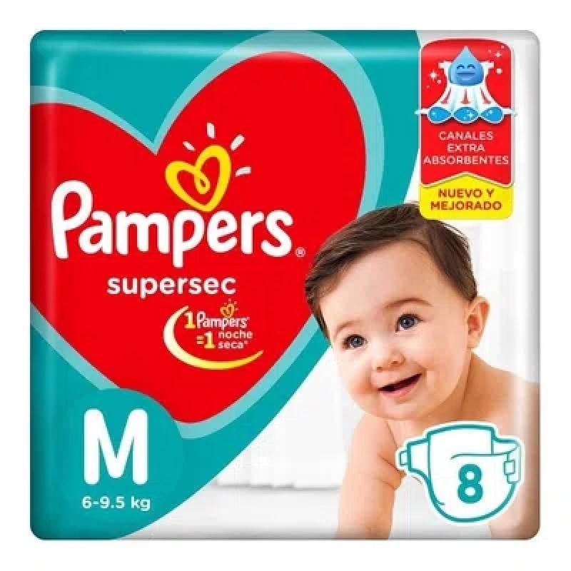PAMPERS PAÑAL SUPERSEC REGULAR MEDIANO x 8 U