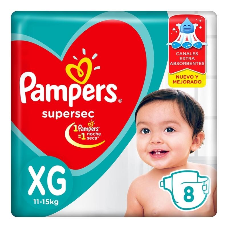 PAMPERS PAMPERS PAÑAL SUPERSEC REGULAR XGRANDE X 8 U.