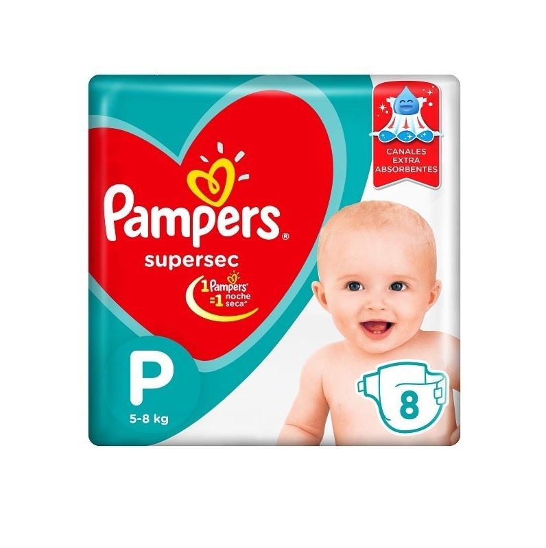 PAMPERS PAÑAL SUPERSEC REGULAR PEQUENO x 8 U.