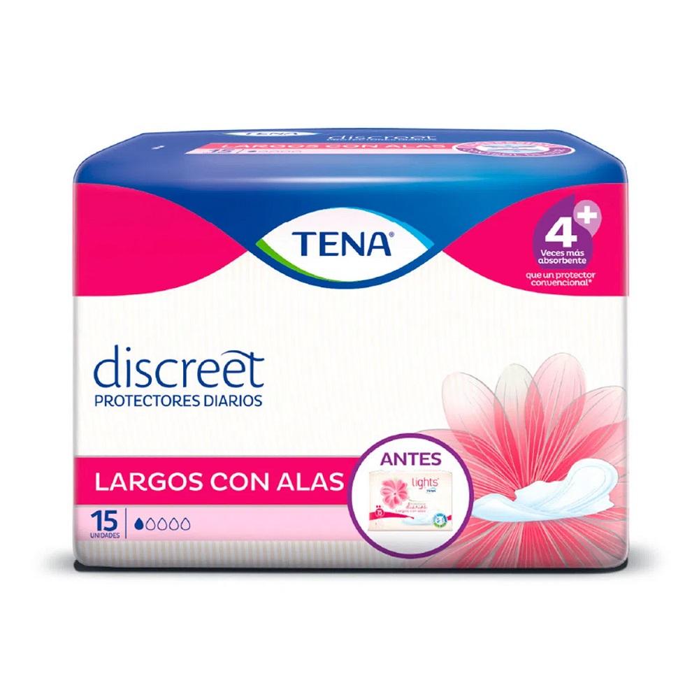 TENA DISCREET PROT LARGO ALAS X 15 UN