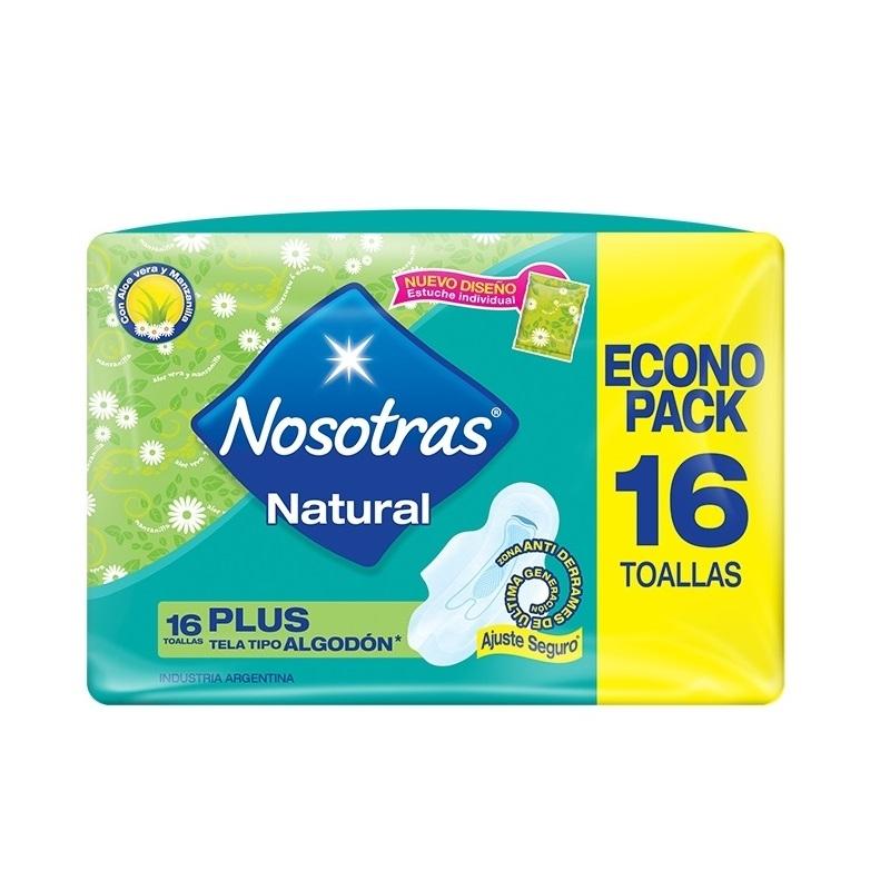 NOSOTRAS TOALLA  NATURAL PLUS TELA SUAVE X16