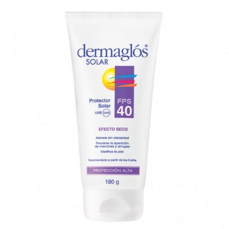 DERMAGLOS EMULSION TOQUE SECO RESISTENTE AL AGUA FPS 40 X 180 ml