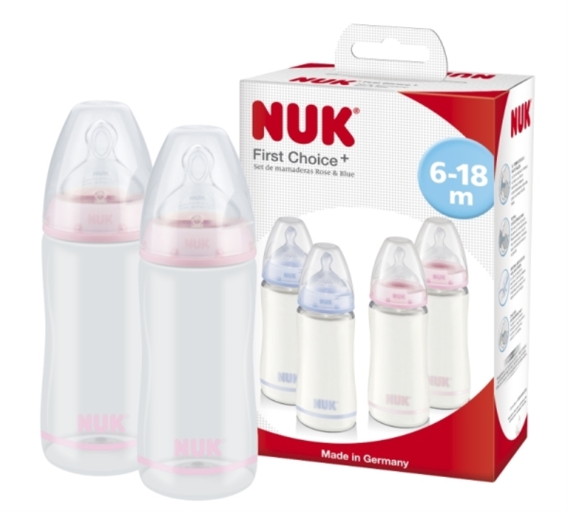 NUK SET DE MAMADERAS R&B ROSA X 2 X 300 ml
