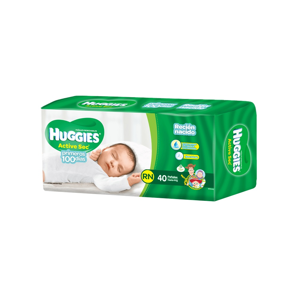 HUGGIES  ACTIVE SEC RECIEN NACIDO X 40 un