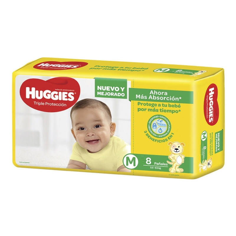 HUGGIES  CLASSIC REGULAR TALLE M X 8 U