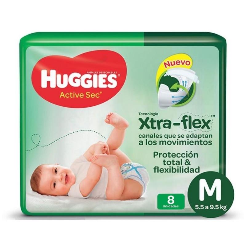 HUGGIES  ACTIVE SEC REGULAR TALLE M X 8 Un