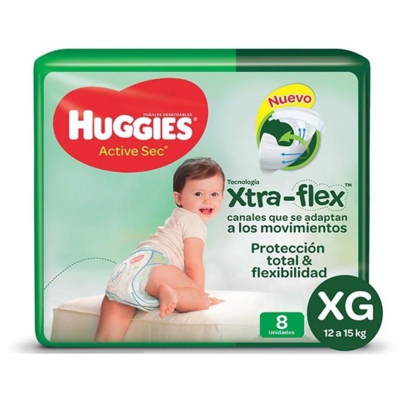 HUGGIES  ACTIVE SEC REGULAR TALLE XG