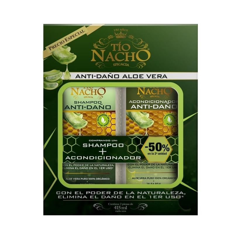 TIO NACHO   ALOE VERA PACK (SHAMPOO+ACONDICIONADOR) X415