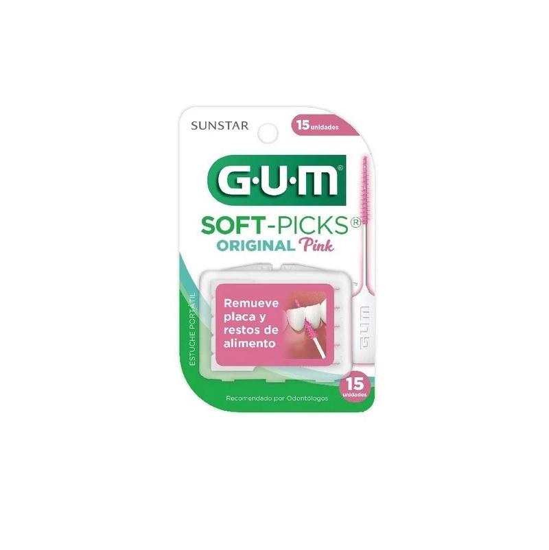 GUM SOFT-PICKS PINK PUNTA DE HULE X 15U.