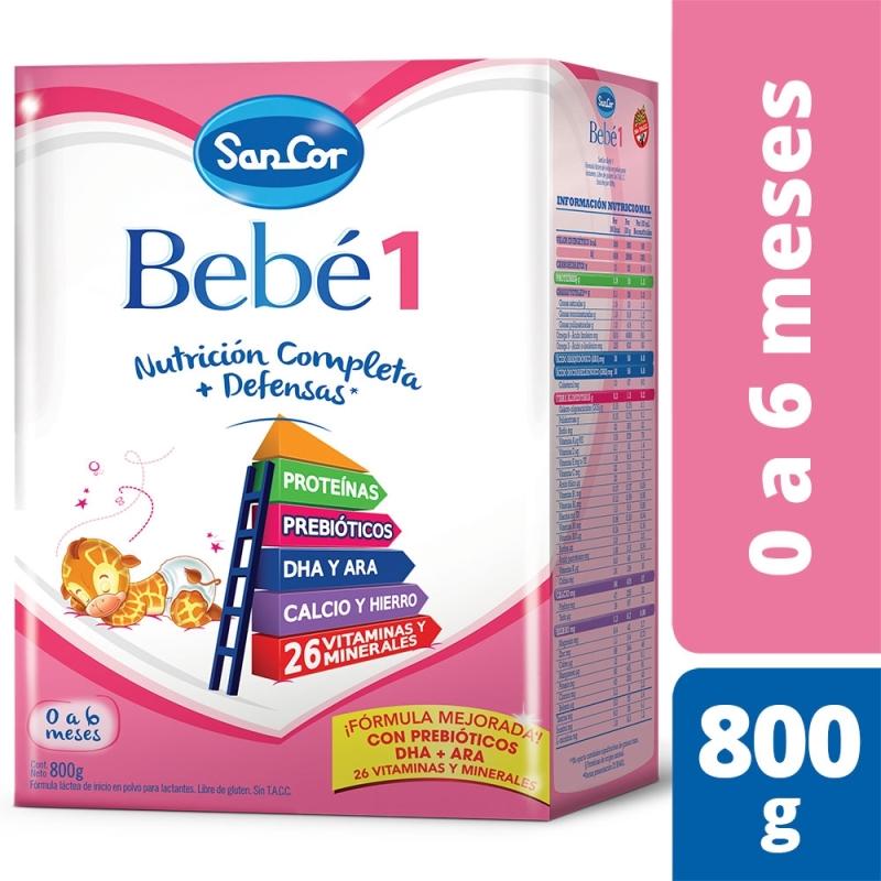 SANCOR BEBÉ 1 NUTRICIÓN COMPLETA LECHE EN POLVO (0 A 6 MESES) X 800 gr