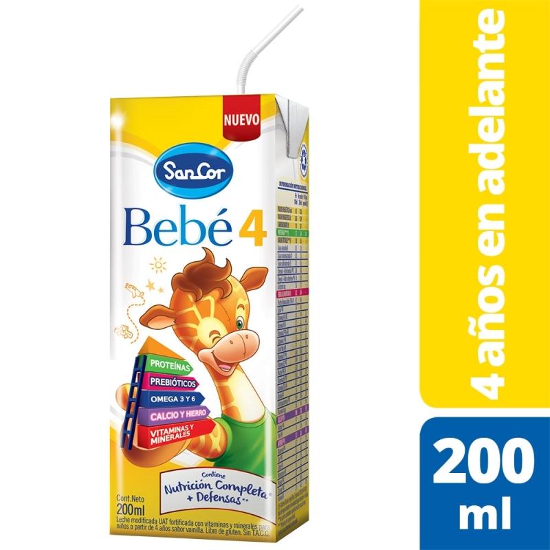SANCOR BEBÉ 4 NUTRICIÓN COMPLETA LECHE EN LIQUIDA (+3 AÑOS) X 200 ml