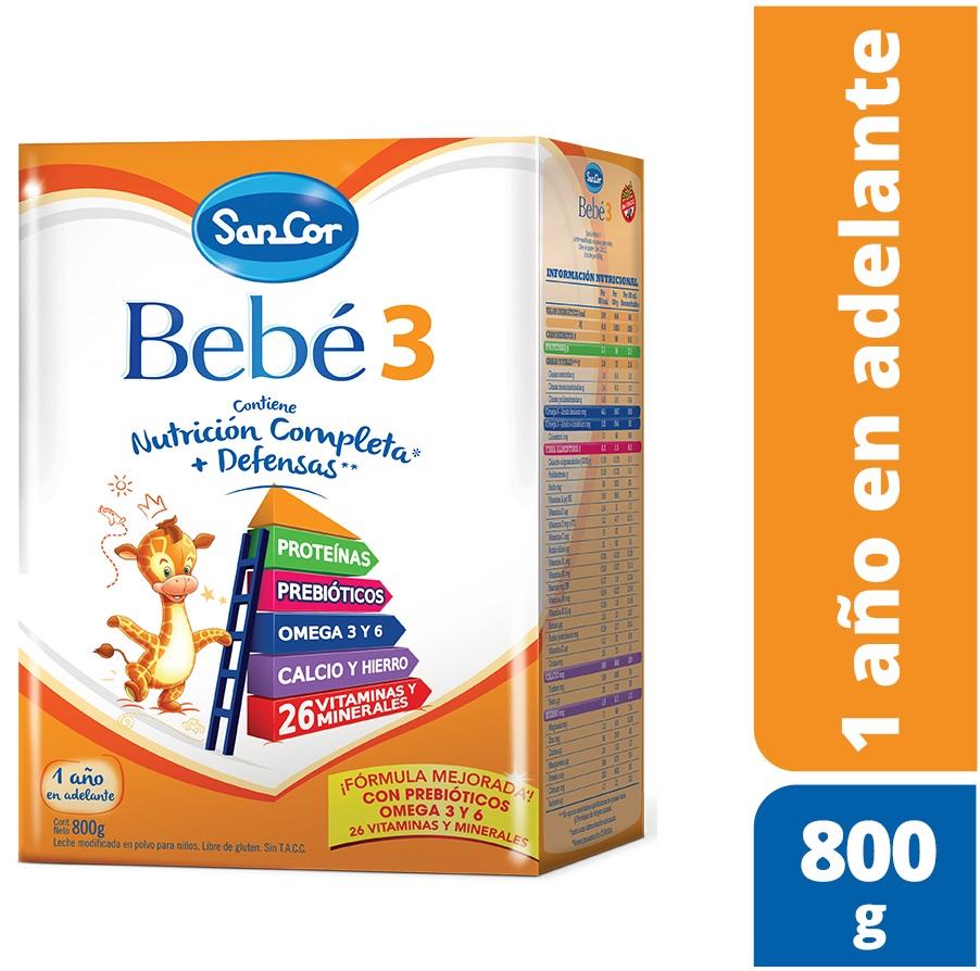 SANCOR BEBÉ 3 NUTRICIÓN COMPLETA LECHE EN POLVO (1 A 3 AÑOS) X 800 gr
