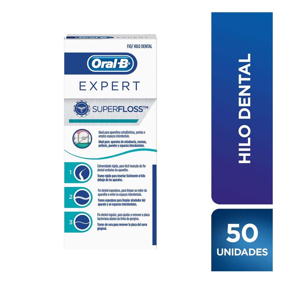ORAL B HILO DENTAL ORTODONCIA SUPER FLOSS EXPERT X 50 Un