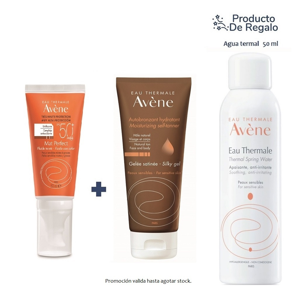 AVENE SOLAR FLUIDO MATE COLOR SPF50 + AUTOBRONCEANTE BRILLO NATURAL