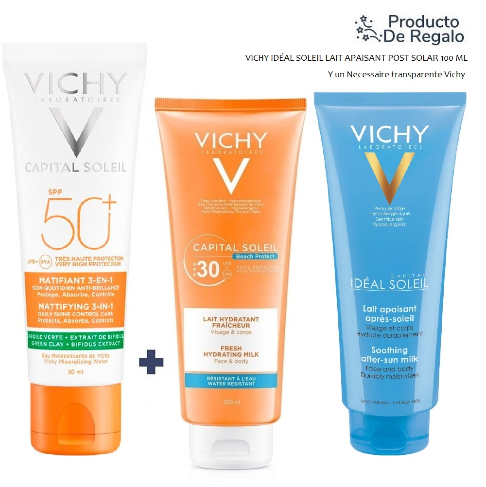 VICHY CAPITAL SOLEIL FPS 50 MATIFICANTE + FAMILIAR MILK FPS 30